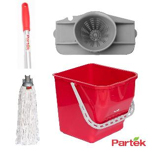 Partek Damp Mopping Set Includes Round Cotton Mop Red Pb25rw/Rctnm01/Ah05/R