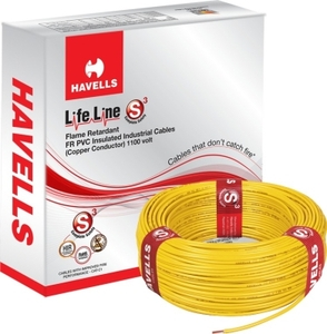 Havells Life Line 6 Sq. Mm Length 180 M Fr Pvc Insulated Cable Yellow Whffdnyl16x0