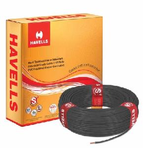 Havells Life Line Whffdnblf11x0 Fr Pvc Insulated Flexible Cable Single Core 1.0 Sq. Mm 200 Mtr - Black