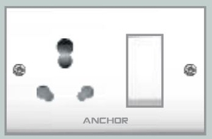 Anchor Uni. S.S.Comb.(2 Fixing Holes) Socket With Switch 39447