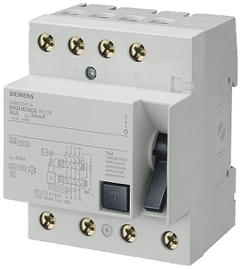 Siemens 4 Pole 25 A Residual Current Circuit Breaker