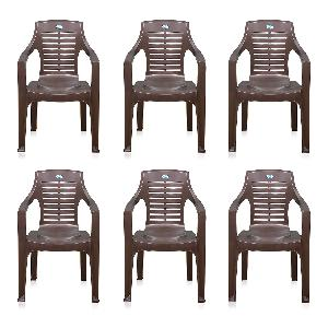 Nilkamal Weathered Brown Mid Back Chair Set Of 6 Flocchr6020kit6wbw