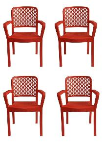 Italica Furniture Red Luxury Plastic Arm Chair 3018 - R (Pack Of 4 Piece)
