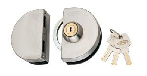 Spider Glass Door Lock Semi Circle With 3 Brass Wave Keys - Gdl01