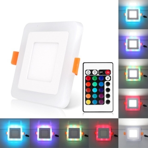 Syska 12w Cool White 4w Blue Color Square Panel Light
