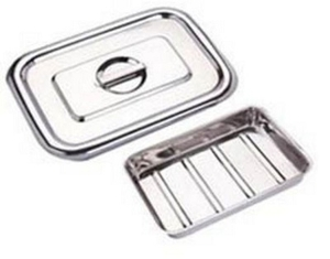 Ib Basics Stainless Steel Instrumental Tray With Cover 10x8 Inch