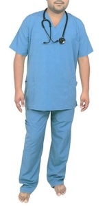 Ib Basics V-Neck Unisex Scrub Suit Set Blue 85206-M