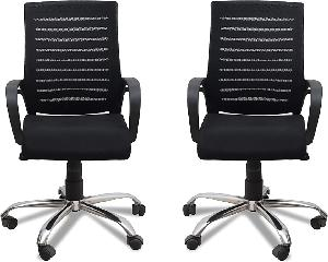 Ib Basics Black Full Back Mesh Chair Ss026 Pack Of 2 Piece