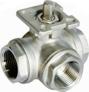 Techno Stainless Steel 3 Way Ball Valve - Size 1 1/2 Inch