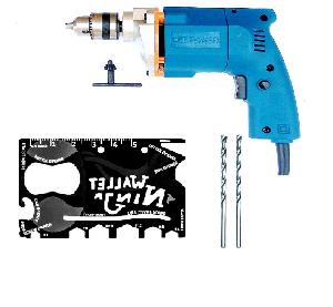 Dee Power 10  Mm Electric Drill Machine With Ninja Wallet + 2 Masonry Bits