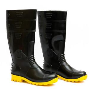 Hillson Welcome Black And Yellow Plain Toe Gumboot Size 6