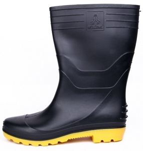 Hillson Welcome Black And Yellow Plain Toe Gumboot Size 10