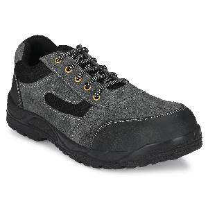 Kavacha Panther Steel Toe Low Ankle Leather Safety Shoes Size-8 Grey