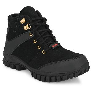 Kavacha S82 Steel Toe Hi-Ankle Leather Safety Shoes Size-8 Black