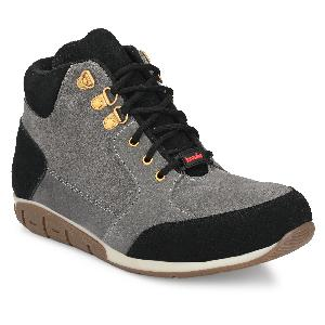 Kavacha S83 Steel Toe Hi-Ankle Leather Safety Shoes Size-8 Grey