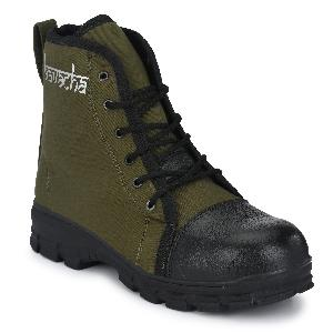 Kavacha S66 Steel Toe Hi-Ankle Canavas Safety Shoes Size-9 Black