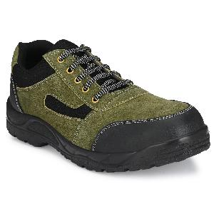 Kavacha Panther Steel Toe Low Ankle Leather Safety Shoes Size-10 Olive